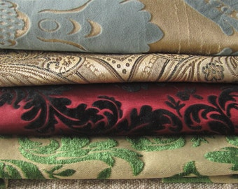 Damask fabric scraps, upholstery fabric scraps, brocade fabric scraps, craft damask scraps, gold damask fabric scraps, damask fabric bundle