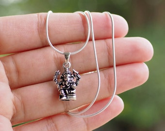 Ganesha Necklace, Silver ganesh necklace, Sterling Silver 925 Pendant Necklace, Yoga necklace, Hinduism