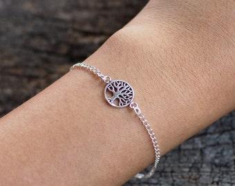 Tree of Life Bracelet, 925 Sterling Silver Bracelet, Family Tree Bracelet, Adjustable Bracelet, Gift for her - MI.21