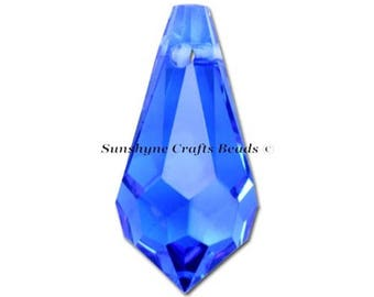 Swarovski Crystal Beads 6000 2pcs SAPPHIRE Teardrop Faceted Pendant - Sizes 11mm, 13mm & 15mm available