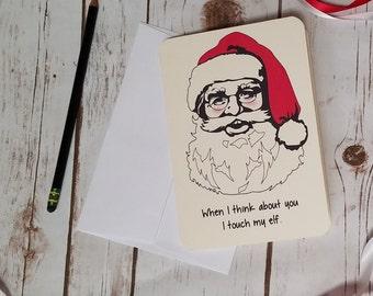 Funny Adult Christmas Card / Christmas card for wife, husband, boyfriend, girlfriend / Naughty X-Mas card for grown-ups / Silly Santa