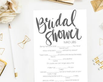 Bridal Shower Mad Libs Game Printable, Bridal Shower Printable Game, Modern Bridal Mad Libs, Fun Shower Mad Libs, Modern Bridal Shower