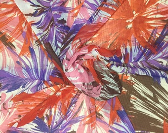 SALE| FREE SHIPPING | Printed Polyester Chiffon Georgette - Red/Purple/Pink/Brown | Abstract Fabric By the Yard