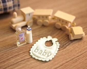 Dollhouse Miniature Infant Set,  Miniature Baby Oil, Miniature Nursing Feeding Bottle, Dollhouse Nursing Feeding Bottle, Dollhouse Baby Oil