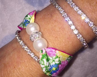 Lilly Pulitzer Hibiscus Stroll Pearl Bracelet