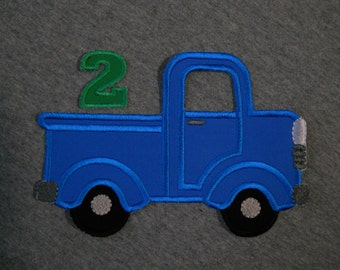 Made to order ~ Blue Truck with Number (You Choose a number) iron on or sew on applique patch