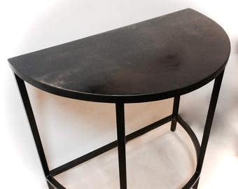 Console Table, Demilune, Side Table, Half Moon Table, Black Metal Table, Industrial Table, Hall Table, Welded, Art Deco Table, Steel Table