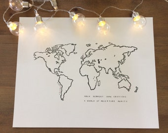 Personalised New Baby Art Print World Map and Tiny Hearts Art Print