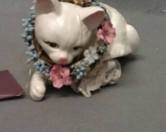 White Cat Decor and More with Pink Ears and Nose with Wreath Shelf Sitter Cat Figurine