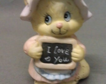 Feline Feelins Yellow Cat with Pink Ears and Nose and Blue Eyes I Love You Cat Figurine