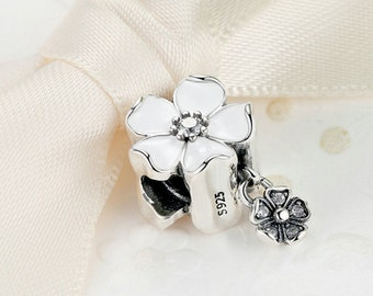 Sterling silver charm pendant bead cubic zirconia fits pandora charms and European bracelet white