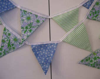 FLORAL BUNTING BANNERS - floral buntings - floral garlands - floral home decor - floral decorations - blue green floral buntings -