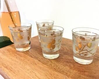 Vintage shots glasses vintage libbey barware libbey pine cone libbey shots glasses gold libbey glassware vintage libbey barware mid century