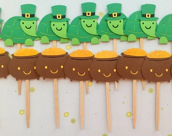 St. Patrick's Day Cupcake Toppers • Pot of Gold and Lucky Turtle • St. Patrick's Day theme party