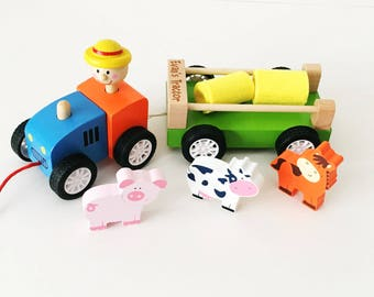 Farm animal personalised tractor wooden toy - pull along tractor