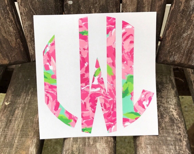 Lilly Inspired round monogram decal