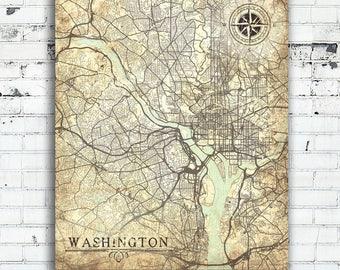Washington D C Map Etsy - Us map washington dc