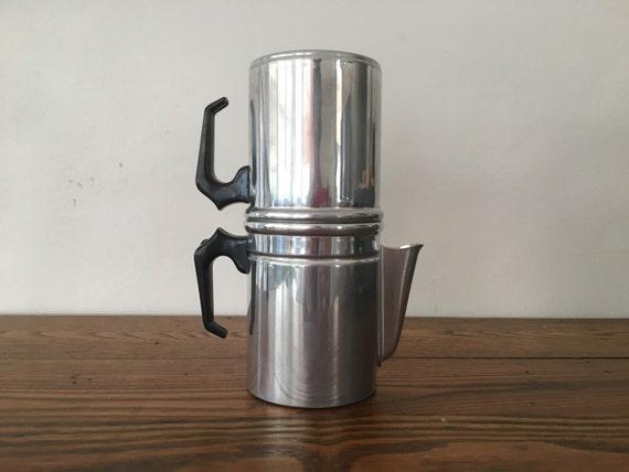 Neapolitan Flip Coffee Pot ~ Aluminum neapolitan stovetop flip drip coffee pot by