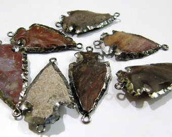Mix Color- Black Plated Jasper Arrowhead 35 to 40mm- approx 1.5 inch long, Double Loop Connector With Black Oxidize Electroplated Edge -Sale