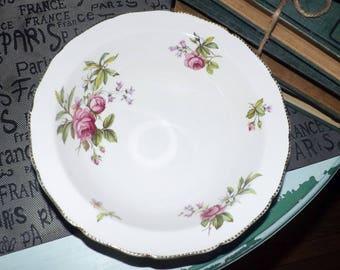 Quite vintage (c.late 1930s) Ridgway   Ridgways Summer Glory rimmed vegetable   serving bowl. Pink roses, 22-karat gold scalloped edge.
