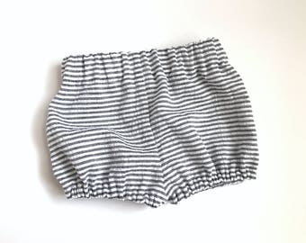 Baby Boy Bloomers - Gray Striped Bloomers - Blue Striped Bloomers - Baby Boy Shorts - Seersucker Bloomers-  Summer Bloomers - Fourth of July