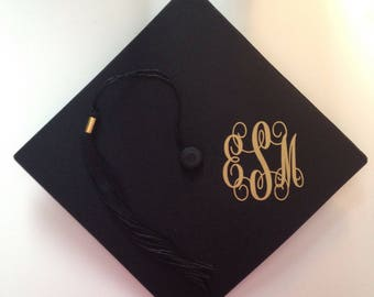 Graduation Cap Monogram Decal Stickers Vinyl Monogram Decals Personalized Gradution Monogrammed Decal
