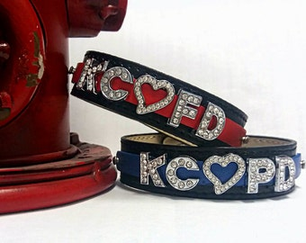 Thin Red Line Bracelet-Thin Blue Line Bracelet-Kansas City Fire Department-Kansas City Police Department-Fireman Jewelry-Police Jewelry