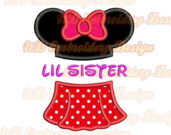 LIL SISTER Minnie skirt embroidery applique design, ms-148
