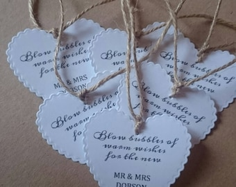 10 Heart shaped wedding favour tags for bubbles