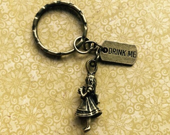 "Alice in Wonderland Bronze Keyring ""Drink Me"" Steampunk"