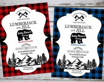 Lumberjack and Jill Baby Shower Invitation, Lumberjack Printable Baby Shower Invite, Bear Baby Shower Invite, Flannel Baby Shower,DIY Invite