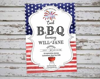 4th of July BaByQ Invitation, 4th of July BaByQ Invite, July 4th Party Invitation, July 4th Baby Shower Invitation, Coed Party  DIGITAL FILE