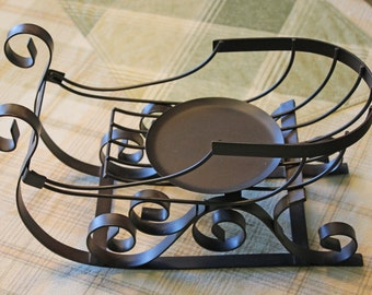 Black Metal Sleigh Holiday Display Decorative Metal Sleigh Table Top Display Sleigh Candle Holder Curved Metal Excellent Vintage Condition