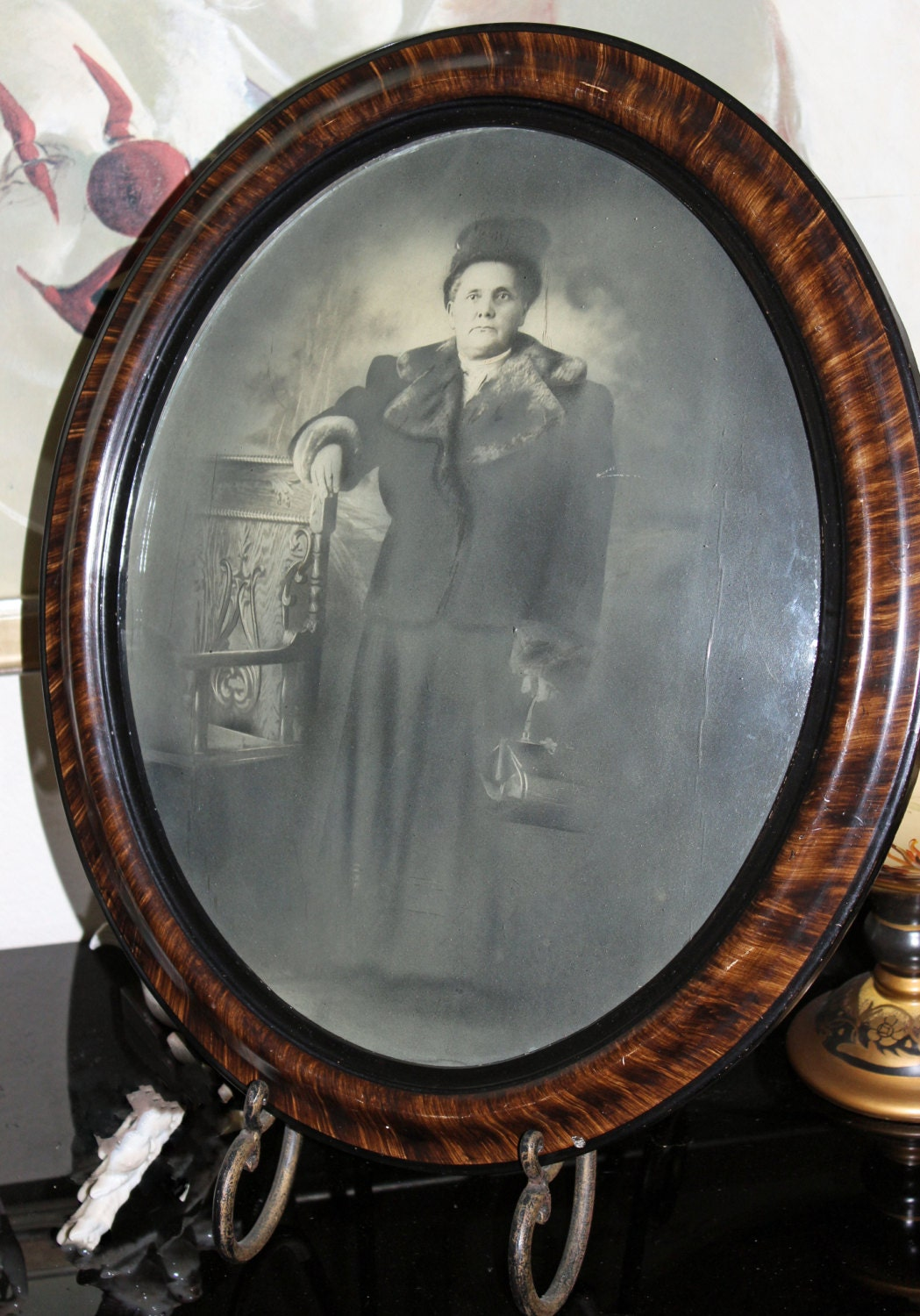 Oval frame convex glass bubble glass 1920s wood oval frame black sold by pastthatlasts jeuxipadfo Image collections