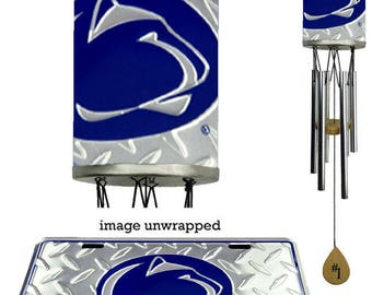 Penn State Nittany Lion Wind Chime, body wrapped with diamond metal plate