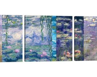 On canvas Claude Monet Monet Waterlilies Tris framed Deco – the