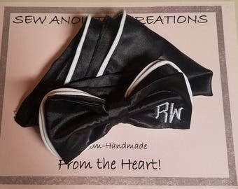 Piped Bowtie Set, Black and White Bowtie Set