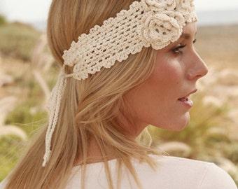 Crochet headband with flowers, Crochet head band, Head bands Woman, Headbands woman, Handmade hair accessories, Crochet fashion headband
