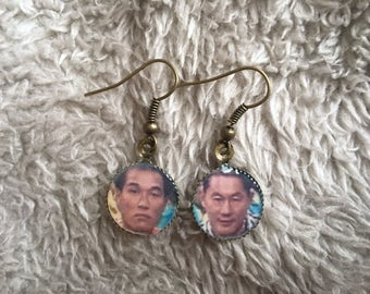 Kenny Blankenship and Vic Romano MXC Charm Earrings in Antique Brass