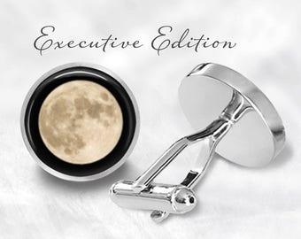 Full Moon Cufflinks - Moon Cuff Links - Planet Cuff Links - Space Cufflink (Pair) Lifetime Guarantee (S0680)