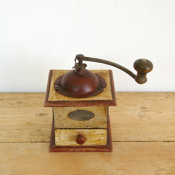 Vintage coffee grinder wooden original label.Vintage coffee  |Coffee Grinders Antique Label