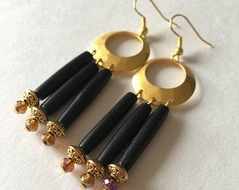 Black Bone pipe earrings