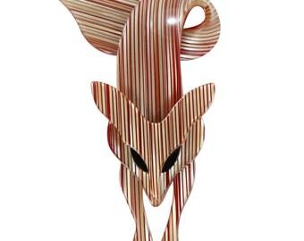 Lea Stein Fox Brooch Pin - Beige, Brown Glitter