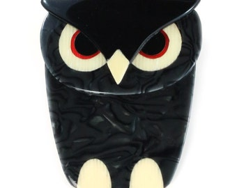 Lea Stein Buba Owl Brooch Pin - Pearly Black, Creme