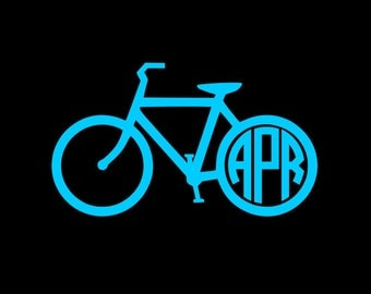 Bicycle Monogram Decal, Solid Color Car Decal, Yeti Tumbler Sticker, Planner Decal, Choice of Sizes and Colors!