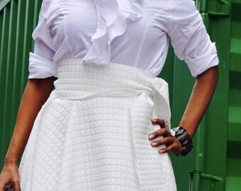 White Soft Cotton Wrap Skirt