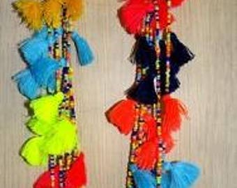 Summer Boho multi tasseled Necklace/ seed bead & Tassel Necklace / Multi coloured necklace