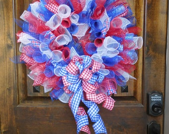 "Large Wreath Made from Mesh Spirals in Red, White and Blue - 21"" diameter - Patriotic - 4th of July - Memorial Day"