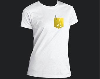 Women's Scoop Neck T-shirt -Metallic Headset Design