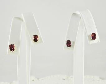 Rhodolite Garnet 1.76 TCW 7 x 5 MM Oval Sterling Silver or Gold Filled Stud Earrings